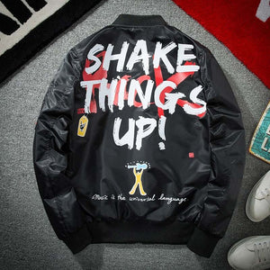 Bomber Jacket with Graffiti Print