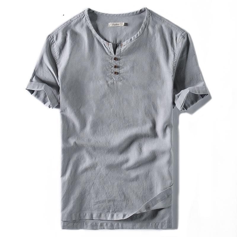 Casual Solid Tees Linen Cotton Top