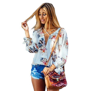Spring  Blouse V-Neck Tops Floral Printed Shirt