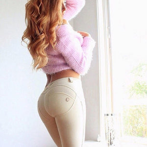 High quality fashion low waist pants with elastic skinny pants