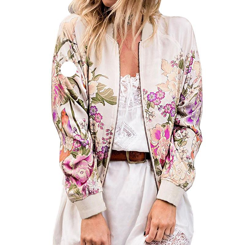 Floral Print Long Sleeve Stand Collar Basic Bomber Jacket