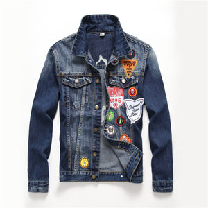 High quality trendy denim jacket with embroidery and patches