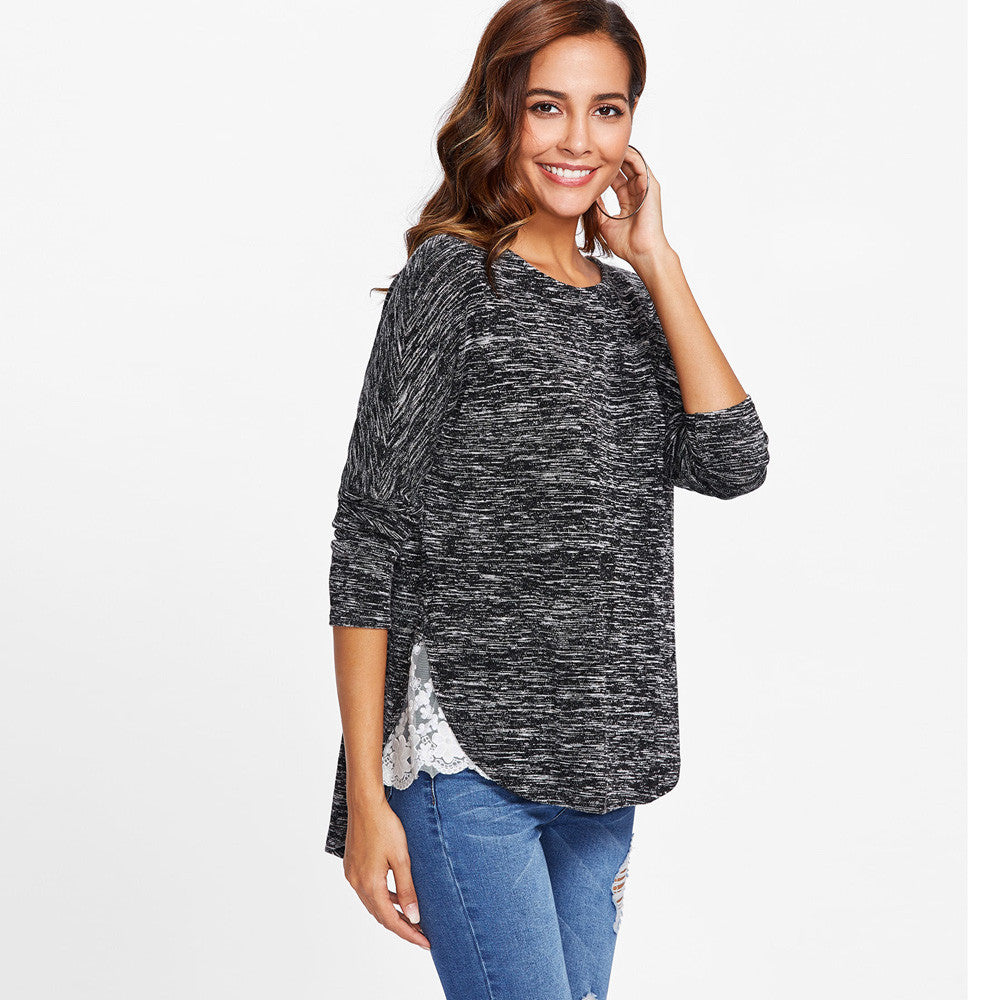 Solid Long Sleeve Lace Patchwork Loose T-Shirt