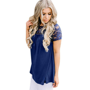 T-shirt Lapel Short-sleeved lace blouse
