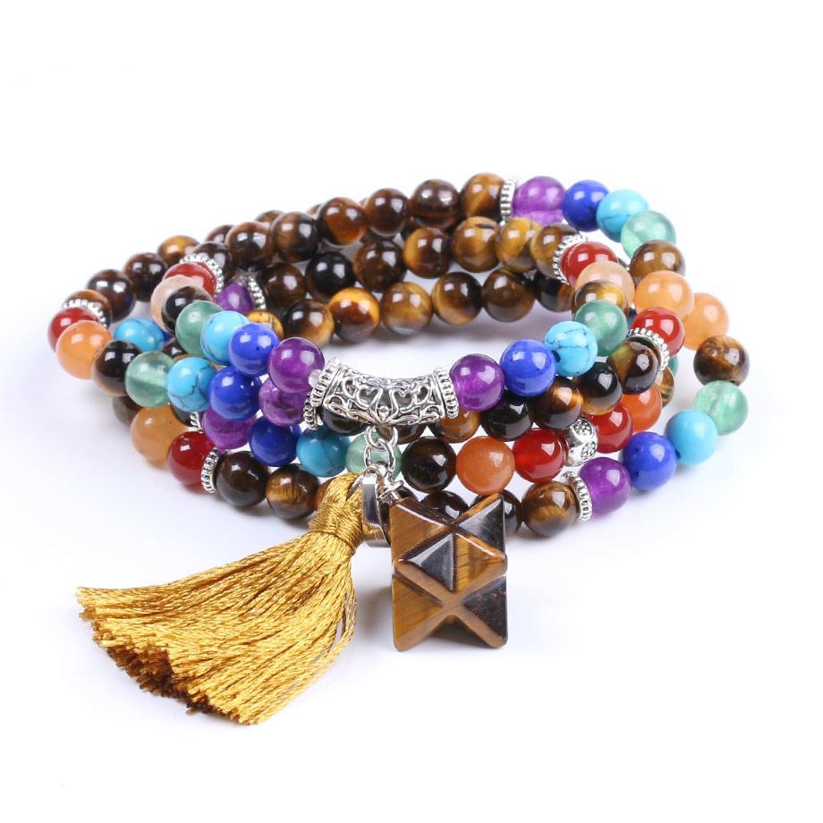 Natural 7 Chakra Tiger Eye Mala Beads Multilayer