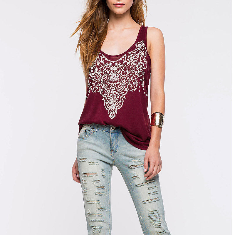 Backless Casual Tank Print Hollow Sexy Tees