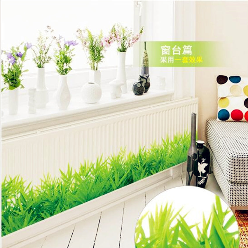 * 3D Fresh green grass baseboard PVC Wall Stickers
