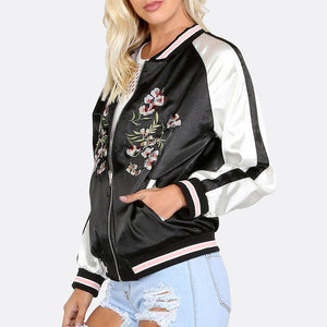 Color Block Jacket Floral Embroidery Loose Zippers Bomber Jacket