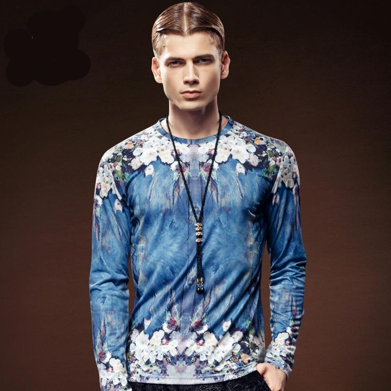 Crew-Neck Long sleeve Vintage floral Print T-shirt