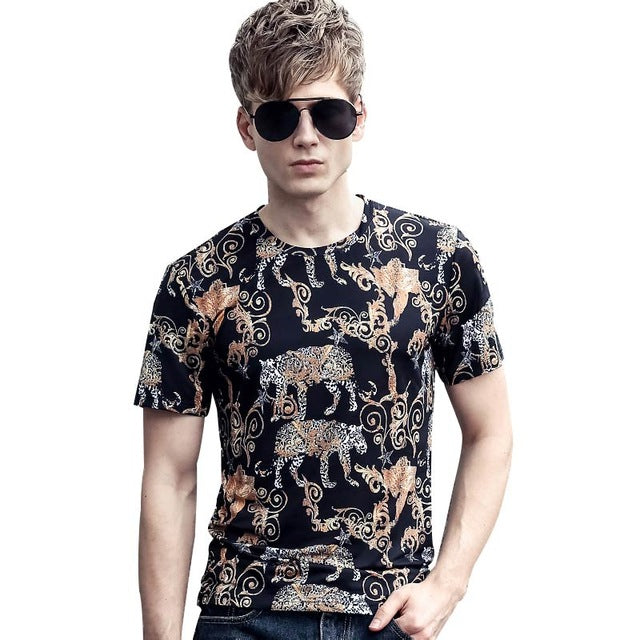 Short Sleeve T-Shirt cotton Vintage with Animal printed design Pattern