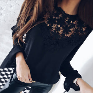 Sexy Hollow Out Chiffon Shirts with Solid Flare Sleeve