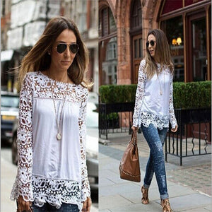 Sexy Hollow Out Solid Lace Blouse with Elegant Long Sleeve