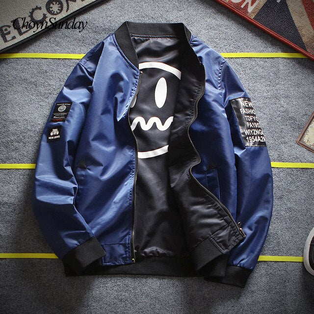 ChoynSunday Bomber Jacket 2018 Jeep Men Pilot with Patches Green Both Side Wear Thin Pilot Wind Breaker Jaqueta masculino C