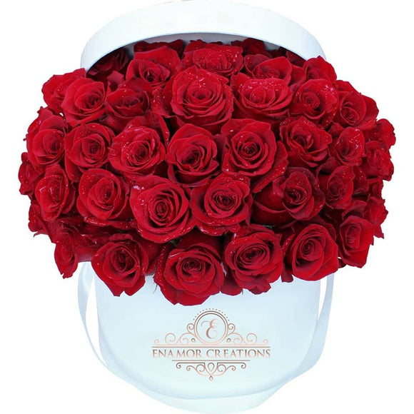 Luxury White Round Box - 25 Natural Premium Roses
