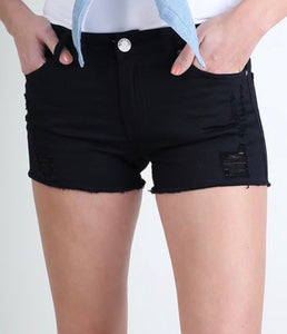 Distress black shorts