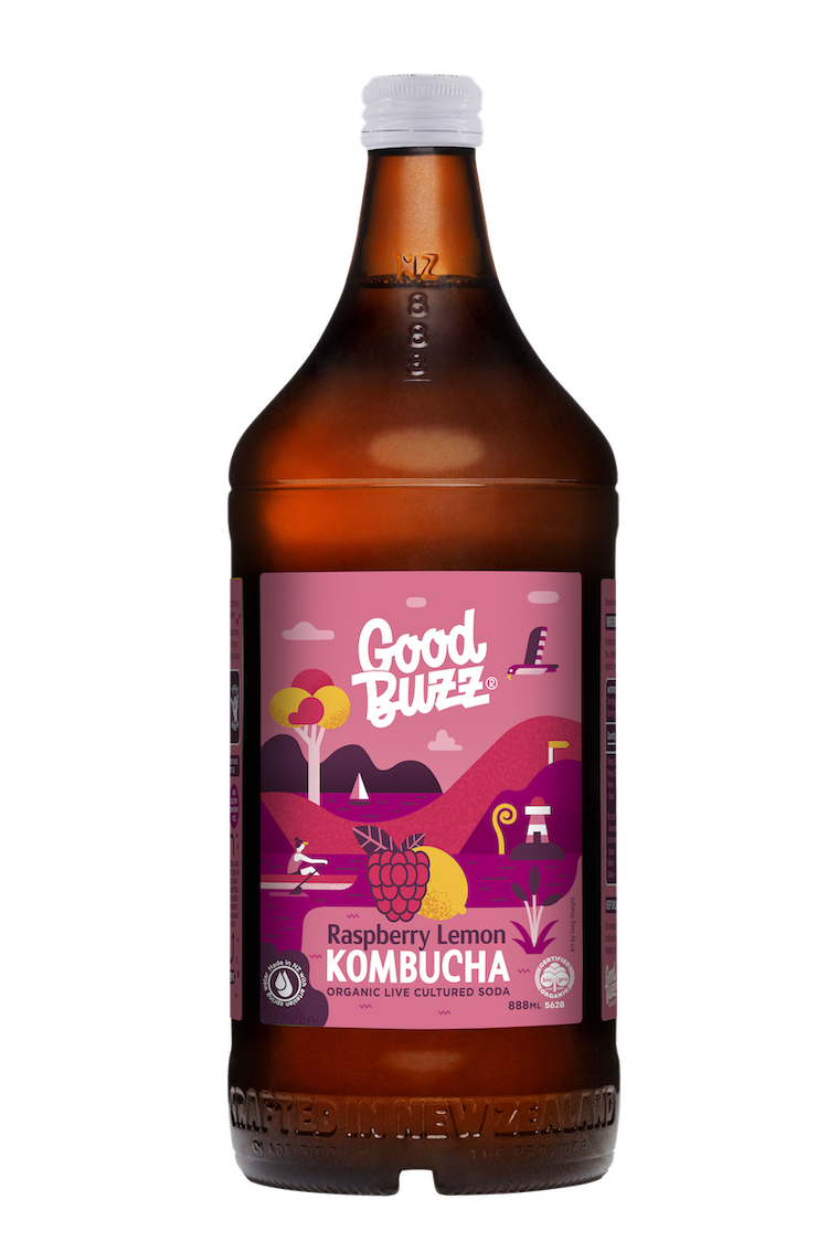 Good Buzz Kombucha - Raspberry Lemon - 888ml Single