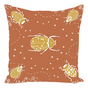 Rust Cotton Twill Beetle Throw Pillows