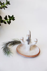 White glaze, red clay southwestern style ceramic cactus ring tree