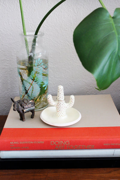 Ivory & Gold Ceramic Cactus ring holder