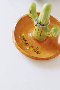 Handmade ceramic cactus ring holders make great Personalized Christmas gifts, teacher gifts and engagement gifts!