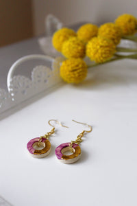 Color Block Circle Dangly Earrings