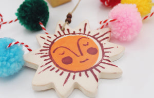 Sleepy Sunshine Ornament - Maroon & Orange
