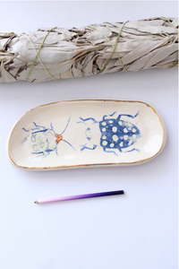 ceramic ring dish, bug trinket dish, bug dish, botanical illustration, botanical tray, This tray will be the perfect gift for nature lovers and will easily compliment your dressing table,Quirky and cool products! Beetle Print, Insect Print, gift for insect lover