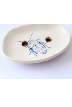 Load image into Gallery viewer, ceramic soap dish, bug trinket dish, bug dish, botanical illustration, botanical tray, This tray will be the perfect gift for nature lovers and will easily compliment your dressing table, Quirky and cool products! Beetle Print, Insect Print, gift for insect lover