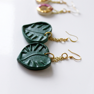 Monstera Leaf Dangly Earrings