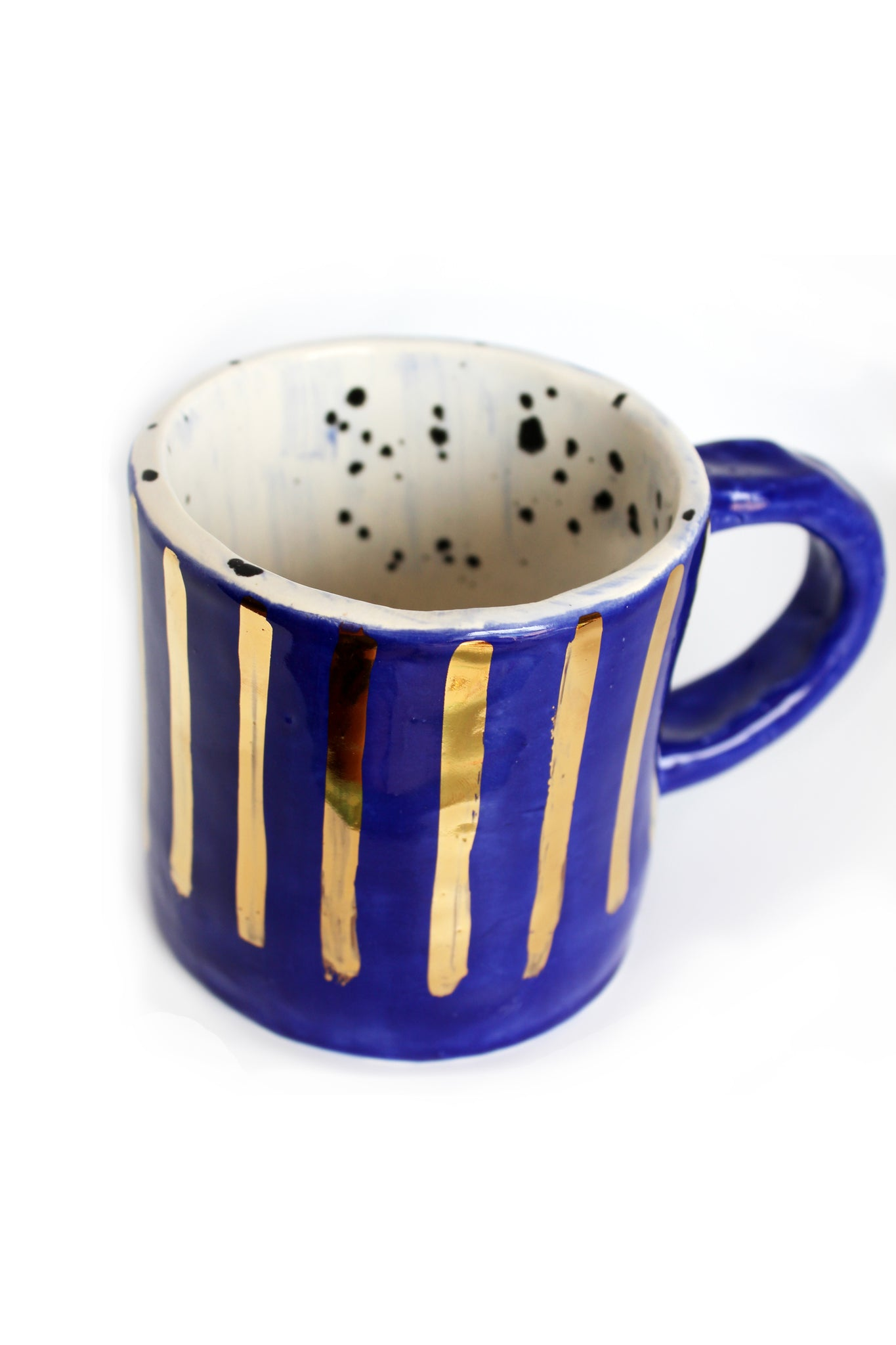 Indigo and gold coffee mug