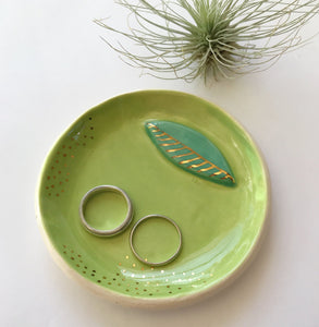 Lime green ceramic ring dish