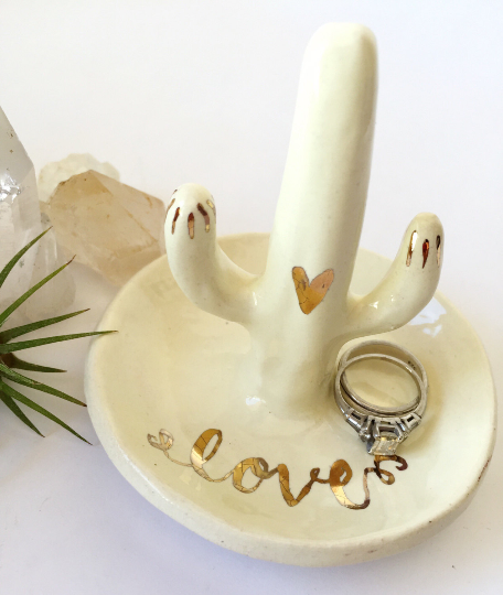 Ivory Ceramic Cactus Ring Holder