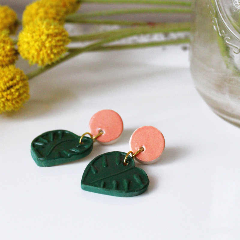 Monstera Leaf Pink Stud Earrings