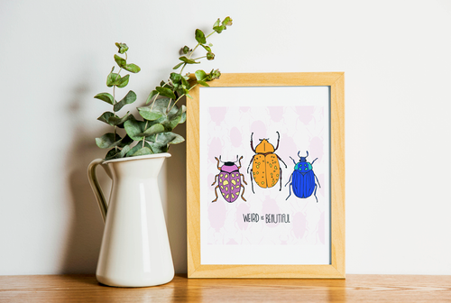 Weird is Beautiful, custom print, bug print, insect print, Bug gifts, botanical insect, insect art, Beetle Print, Bug Art, Insect taxidermy, Whether they are amazed by bugs or creeped out by them, earth wouldn't be the same without insects. Unique bug gift idea, insect gift idea