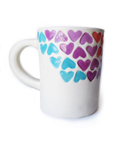 Rainbow Stamped Heart Mug