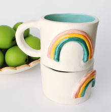 Load image into Gallery viewer, Handmade ceramic mug, vintage inspired mug, rainbow mug, happy coffee mug, 14 oz coffee mug, turquoise glaze inside, three color rainbow on the outside.