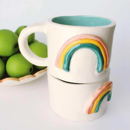 Handmade ceramic mug, vintage inspired mug, rainbow mug, happy coffee mug, 14 oz coffee mug, turquoise glaze inside, three color rainbow on the outside.