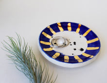 Load image into Gallery viewer, Ceramic Trinket Dish - Black and white speckled with blue and gold rim