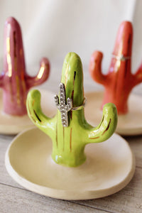 Green Saguaro Ring Holder