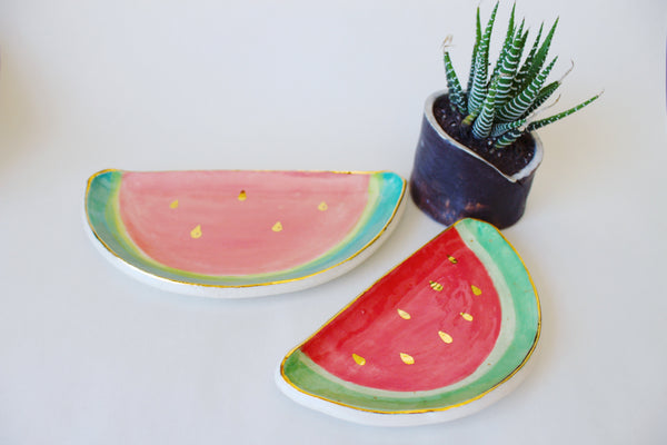 Ceramic Watermelon Trinket Dish, handmade ceramic home decor