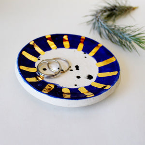 Ceramic Trinket Dish - Black and white speckled with blue and gold rim