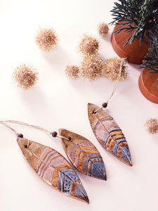 Feather Ornament Trio - Brown & Gold