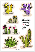 Load image into Gallery viewer, Line and Dot by Laura Jones Martinez super cute cactus illustrations, prickley pear cactus, purple cactus, blooming cactus, Arizona cactus sticker sheets, illustrated cactus sticker sheet