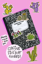 Load image into Gallery viewer, cactus sticker sheet laura jones martinez