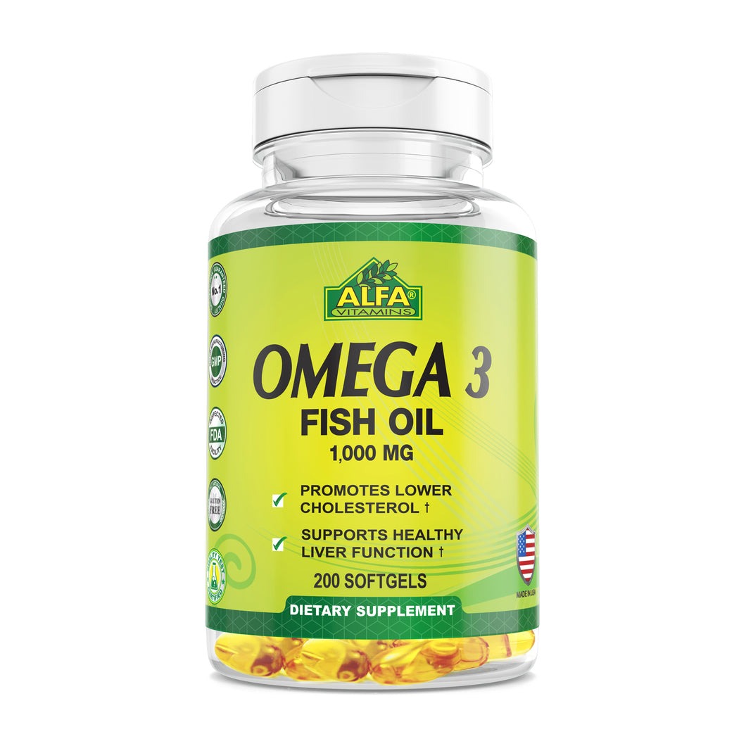 Omega 3 - Dietary Supplement with 1000mg Fish Oil - 200 softgels