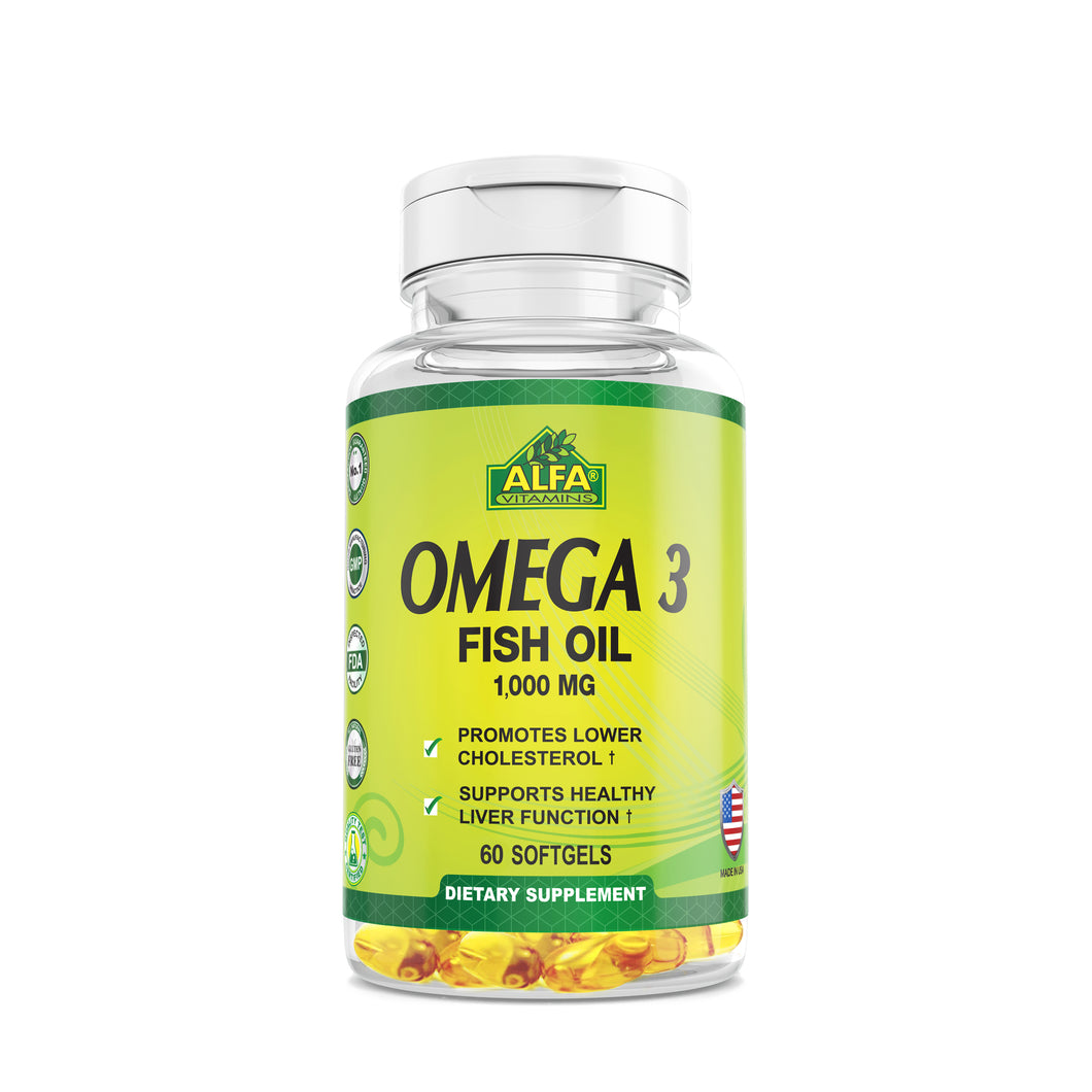 Omega 3 - Dietary Supplement with 1000mg Fish Oil - 60 softgels