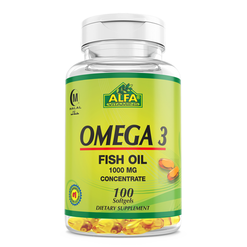 Omega 3 1000mg with IU Vitamin E - 100 Softgels (Private Label)