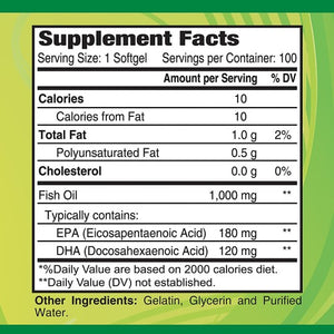 Omega 3-Dietary Supplement with 1000mg Fish Oil - 100 softgels