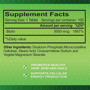 Biotin - Hair Growth Dietary Supplement-5,000 mcg-100 tablets