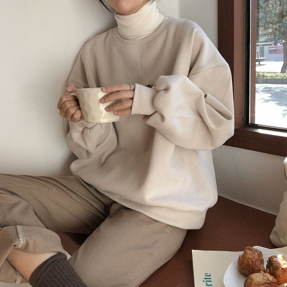 beige top beige outfit layering